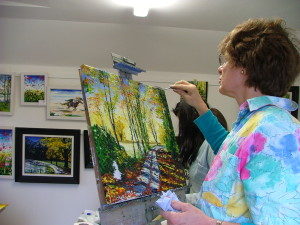 Step by step painting, using the palette knife