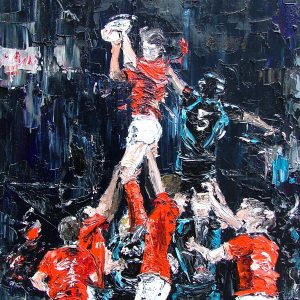 """The Lineout Munster vs The Ospreys. Oil on canvas 16x20 """""""