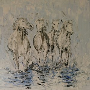 White Horses of the Camargue 50x50x4cm €420