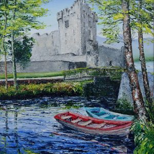 Boats at Ross Castle 16x20""