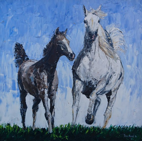 Arab Mare and Foal 40x40cm €460