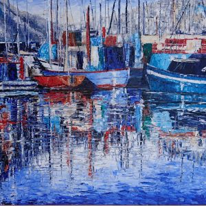 Harbour Reflections, Hout Bay South Africa 78x62cm