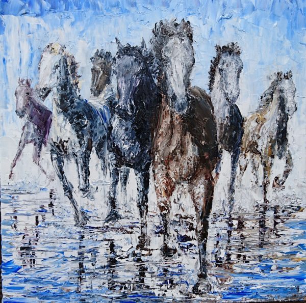 The Wild Herd Approaches 40x40cm