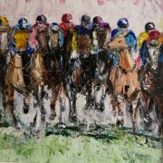 Thunder Approaches Cheltenham Races 40x40cm