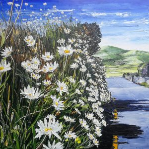 Dingle Daisies 90x90cm box canvas