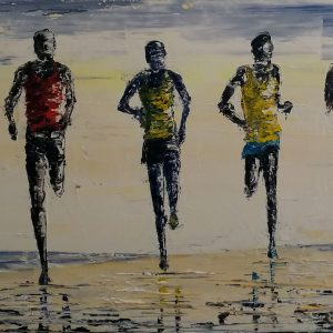 The Beach Runners (box canvas) 80x30cm