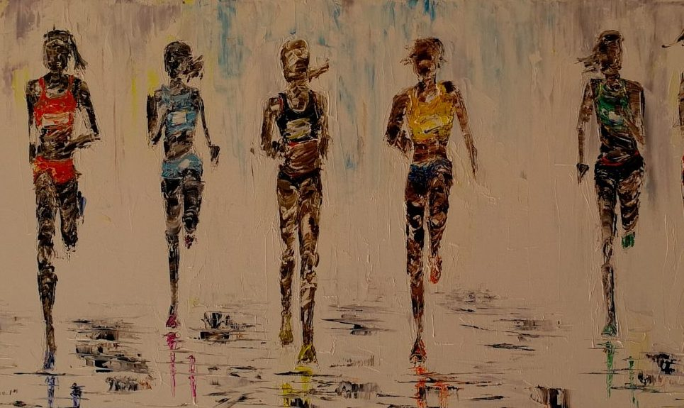 Marathon ! Women's race. 30x80cm Box canvas