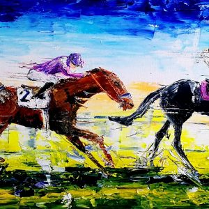 Kentucky Derby (2) 100x30x4cm box canvas