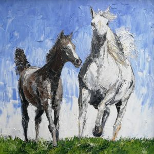 Arab Mare and Foal 40x40cm