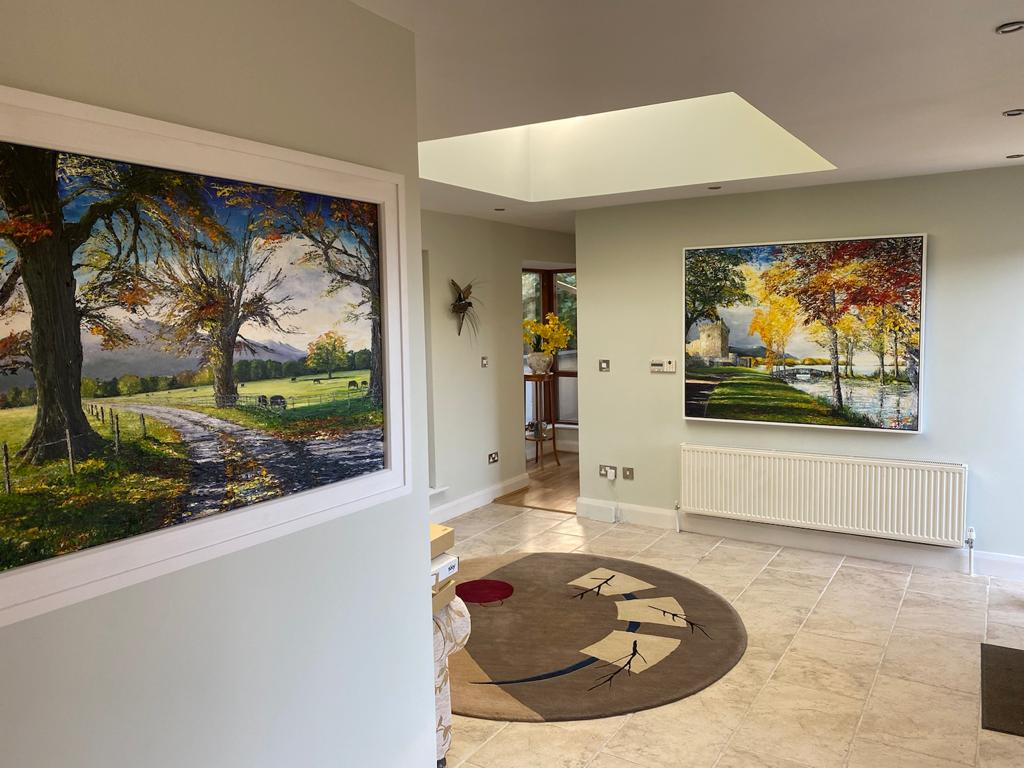 Lovely to see my landscapes in place! These are 120x150cm, large pieces!